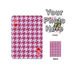 HOUNDSTOOTH1 WHITE MARBLE & PINK DENIM Playing Cards 54 (Mini)  Front - Heart6