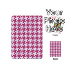 HOUNDSTOOTH1 WHITE MARBLE & PINK DENIM Playing Cards 54 (Mini)  Back