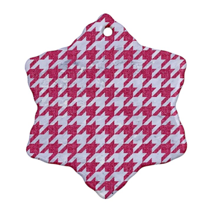 HOUNDSTOOTH1 WHITE MARBLE & PINK DENIM Ornament (Snowflake)