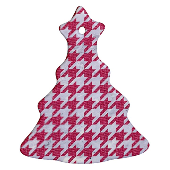HOUNDSTOOTH1 WHITE MARBLE & PINK DENIM Ornament (Christmas Tree)
