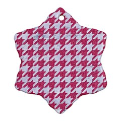 Houndstooth1 White Marble & Pink Denim Snowflake Ornament (two Sides)