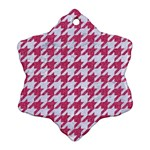 HOUNDSTOOTH1 WHITE MARBLE & PINK DENIM Snowflake Ornament (Two Sides) Front
