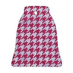 Houndstooth1 White Marble & Pink Denim Bell Ornament (two Sides)