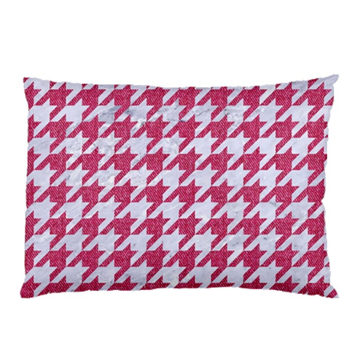 HOUNDSTOOTH1 WHITE MARBLE & PINK DENIM Pillow Case (Two Sides)