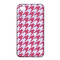 Houndstooth1 White Marble & Pink Denim Apple Iphone 4/4s Seamless Case (black)