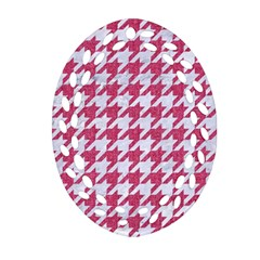 Houndstooth1 White Marble & Pink Denim Ornament (oval Filigree)