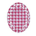 HOUNDSTOOTH1 WHITE MARBLE & PINK DENIM Ornament (Oval Filigree) Front