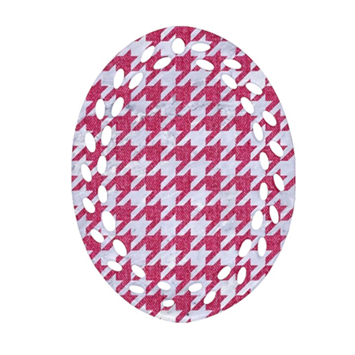 HOUNDSTOOTH1 WHITE MARBLE & PINK DENIM Oval Filigree Ornament (Two Sides)