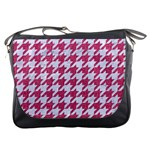 HOUNDSTOOTH1 WHITE MARBLE & PINK DENIM Messenger Bags Front
