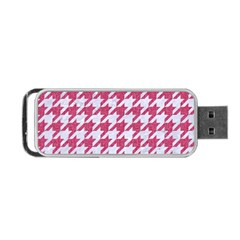 Houndstooth1 White Marble & Pink Denim Portable Usb Flash (two Sides)