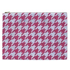 Houndstooth1 White Marble & Pink Denim Cosmetic Bag (xxl)
