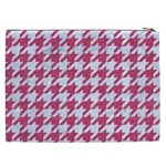 HOUNDSTOOTH1 WHITE MARBLE & PINK DENIM Cosmetic Bag (XXL)  Back