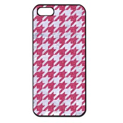 Houndstooth1 White Marble & Pink Denim Apple Iphone 5 Seamless Case (black)