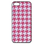 HOUNDSTOOTH1 WHITE MARBLE & PINK DENIM Apple iPhone 5 Seamless Case (Black) Front