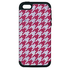Houndstooth1 White Marble & Pink Denim Apple Iphone 5 Hardshell Case (pc+silicone)