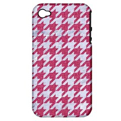 Houndstooth1 White Marble & Pink Denim Apple Iphone 4/4s Hardshell Case (pc+silicone)