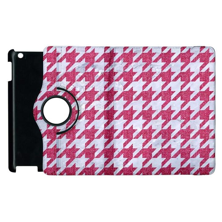HOUNDSTOOTH1 WHITE MARBLE & PINK DENIM Apple iPad 2 Flip 360 Case