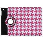 HOUNDSTOOTH1 WHITE MARBLE & PINK DENIM Apple iPad Mini Flip 360 Case Front