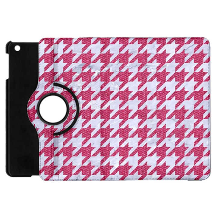 HOUNDSTOOTH1 WHITE MARBLE & PINK DENIM Apple iPad Mini Flip 360 Case