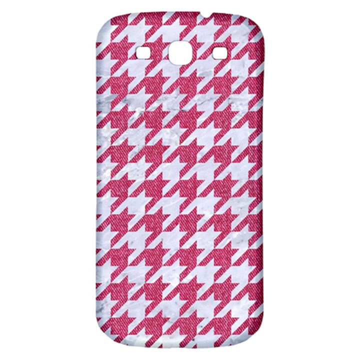 HOUNDSTOOTH1 WHITE MARBLE & PINK DENIM Samsung Galaxy S3 S III Classic Hardshell Back Case
