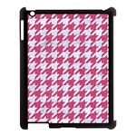 HOUNDSTOOTH1 WHITE MARBLE & PINK DENIM Apple iPad 3/4 Case (Black) Front
