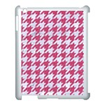 HOUNDSTOOTH1 WHITE MARBLE & PINK DENIM Apple iPad 3/4 Case (White) Front