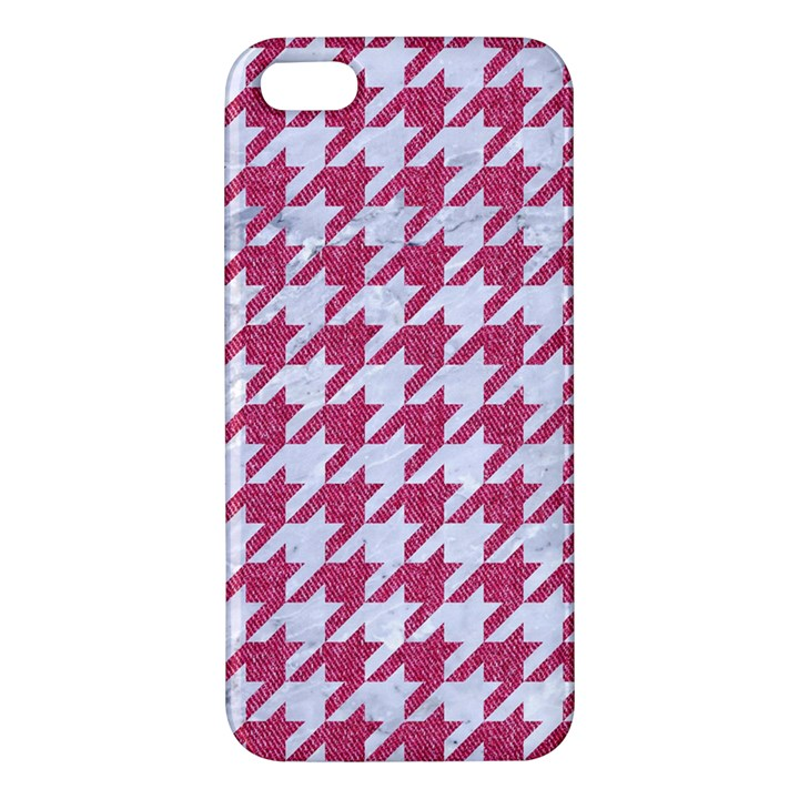 HOUNDSTOOTH1 WHITE MARBLE & PINK DENIM Apple iPhone 5 Premium Hardshell Case