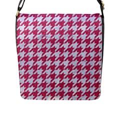 Houndstooth1 White Marble & Pink Denim Flap Messenger Bag (l)