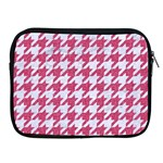 HOUNDSTOOTH1 WHITE MARBLE & PINK DENIM Apple iPad 2/3/4 Zipper Cases Front