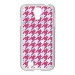 HOUNDSTOOTH1 WHITE MARBLE & PINK DENIM Samsung GALAXY S4 I9500/ I9505 Case (White) Front