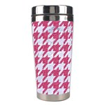 HOUNDSTOOTH1 WHITE MARBLE & PINK DENIM Stainless Steel Travel Tumblers Left