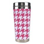 HOUNDSTOOTH1 WHITE MARBLE & PINK DENIM Stainless Steel Travel Tumblers Center