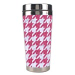 HOUNDSTOOTH1 WHITE MARBLE & PINK DENIM Stainless Steel Travel Tumblers Right