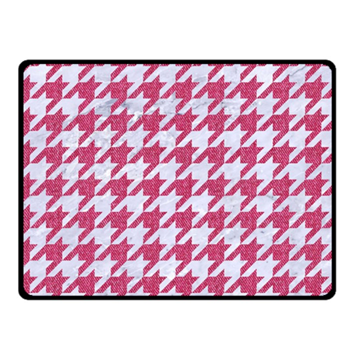 HOUNDSTOOTH1 WHITE MARBLE & PINK DENIM Double Sided Fleece Blanket (Small)