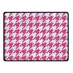 HOUNDSTOOTH1 WHITE MARBLE & PINK DENIM Double Sided Fleece Blanket (Small)  45 x34 Blanket Back