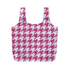 Houndstooth1 White Marble & Pink Denim Full Print Recycle Bags (m)