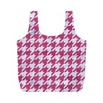 HOUNDSTOOTH1 WHITE MARBLE & PINK DENIM Full Print Recycle Bags (M)  Front