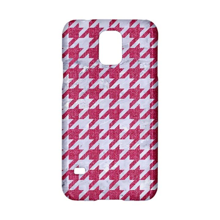 HOUNDSTOOTH1 WHITE MARBLE & PINK DENIM Samsung Galaxy S5 Hardshell Case