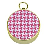 HOUNDSTOOTH1 WHITE MARBLE & PINK DENIM Gold Compasses Front