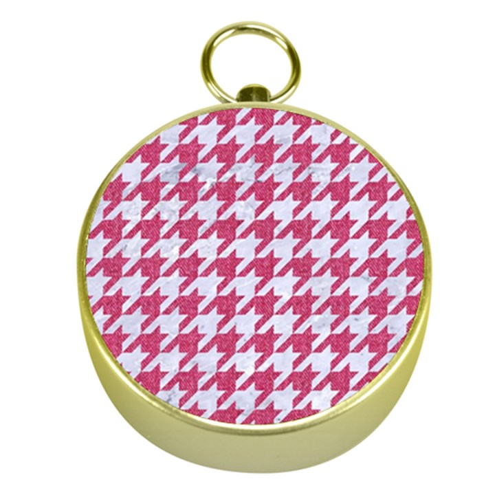 HOUNDSTOOTH1 WHITE MARBLE & PINK DENIM Gold Compasses