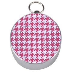 HOUNDSTOOTH1 WHITE MARBLE & PINK DENIM Silver Compasses
