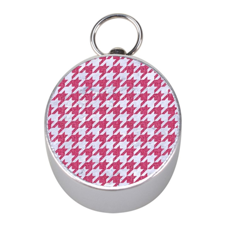 HOUNDSTOOTH1 WHITE MARBLE & PINK DENIM Mini Silver Compasses