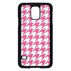 HOUNDSTOOTH1 WHITE MARBLE & PINK DENIM Samsung Galaxy S5 Case (Black)