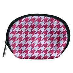 Houndstooth1 White Marble & Pink Denim Accessory Pouches (medium)
