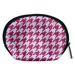 HOUNDSTOOTH1 WHITE MARBLE & PINK DENIM Accessory Pouches (Medium)  Back