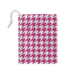 HOUNDSTOOTH1 WHITE MARBLE & PINK DENIM Drawstring Pouches (Medium)  Back