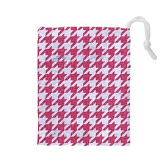 Houndstooth1 White Marble & Pink Denim Drawstring Pouches (large)
