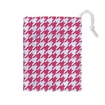 HOUNDSTOOTH1 WHITE MARBLE & PINK DENIM Drawstring Pouches (Large)  Front