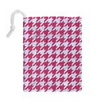 HOUNDSTOOTH1 WHITE MARBLE & PINK DENIM Drawstring Pouches (Large)  Back