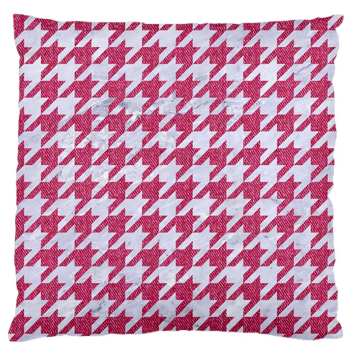 HOUNDSTOOTH1 WHITE MARBLE & PINK DENIM Standard Flano Cushion Case (Two Sides)